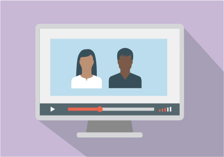 Illustration of a computer screen showing a video with two people in the video