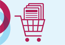illustration of shopping cart with papers in basket