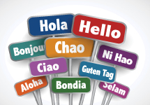 "many signs bearing ""hello"" translated into many different languages"