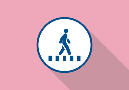 illustration of person on cross walk