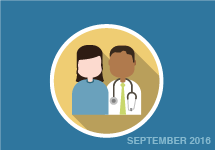 Illustration of patient and doctor. September 2016
