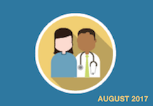 Animated doctor and patient with the word August on the graphic
