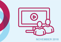 Illustration of two people and computer screen. November 2016 webinar