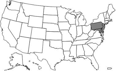 This image, the Jurisdiction L Part A/B Map, depicts a map of the United States with the JL states of Pennsylvania, Maryland, Delaware, New Jersey, and the District of Columbia shaded grey.