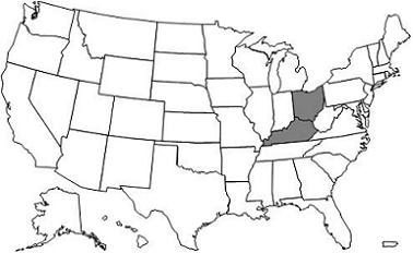This image, the Jurisdiction 15 AB MAC Map, depicts a map of the United States with the J15 states of Ohio and Kentucky shaded grey.