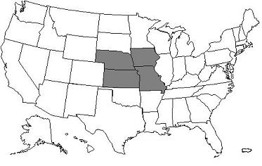 This image, the Jurisdiction 5 AB MAC Map, depicts a map of the United States with the J5 states Iowa, Kansas, Missouri, and Nebraska shaded grey.