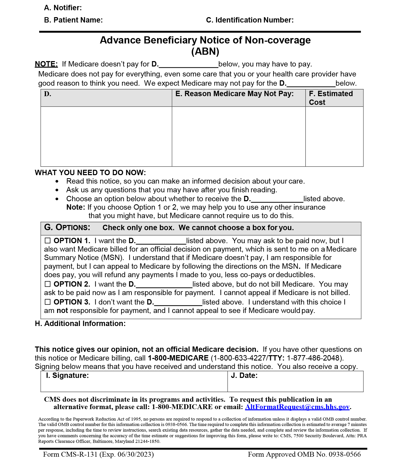 Advance Beneficiary Notice of Noncoverage(ABN) | Form CMS-R-131 ...