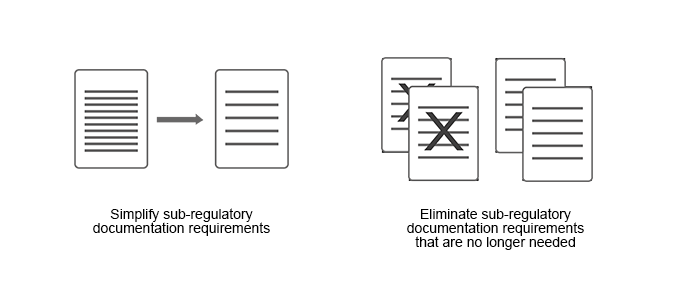 Simplify sub-regulatory documentation requirements. Eliminate sub-regulatory documentation requirements that are no longer needed.