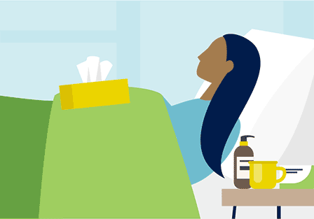 illustration of an ill person at home in bed