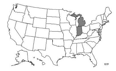 This image, the Jurisdiction 8 Part A/B Map, depicts a map of the United States with the J8 states of  Michigan and Indiana shaded gray.