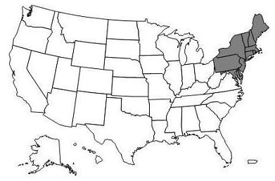 This image, the Jurisdiction A DME Map, depicts a map of the United States with the DME A states of Connecticut, Delaware, Maine, Maryland, Massachusetts, New Hampshire, New Jersey, New York, Pennsylvania, Rhode Island, Vermont, and the District of Columbia shaded gray.