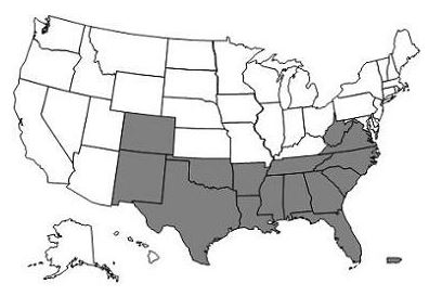 This image, the Jurisdiction C DME Map, depicts a map of the United States with the DME C states and territories of Alabama, Arkansas, Colorado, Florida, Georgia, Louisiana, Mississippi, New Mexico, North Carolina, Oklahoma, Puerto Rico, South Carolina, Tennessee, Texas, U.S. Virgin Islands, Virginia and West Virginia shaded gray.