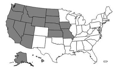 This image, the Jurisdiction D DME Map, depicts a map of the United States with the DME D states and territories of Alaska, American Samoa, Arizona, California, Guam, Hawaii, Idaho, Iowa, Kansas, Missouri, Montana, Nebraska, Nevada, North Dakota, Northern Mariana Islands, Oregon, South Dakota, Utah, Washington and Wyoming shaded gray.