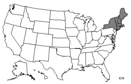 This image, the Jurisdiction K Part A/B Map, depicts a map of the United States with the JK states of Connecticut, Maine, Massachusetts, New Hampshire, New York, Rhode Island, and Vermont shaded gray.