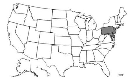 This image, the Jurisdiction L Part A/B Map, depicts a map of the United States with the JL states of Pennsylvania, Maryland, Delaware, New Jersey, and the District of Columbia shaded gray.