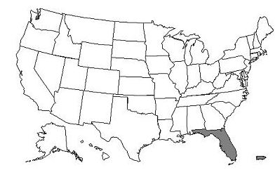 This image, the Jurisdiction N Part A/B Map, depicts a map of the United States with the JN states of Florida, Puerto Rico, and U.S. Virgin Islands shaded gray.